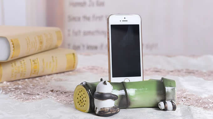 Bamboo Style Ceramic Speaker Sound Amplifier Stand Dock