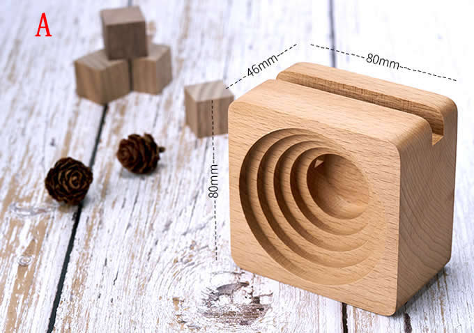 Bamboo Wood Phone Dock with Sound Amplifier