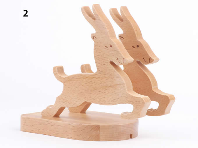 Wooden Animal Cell Phone Stand Charging Dock Holder