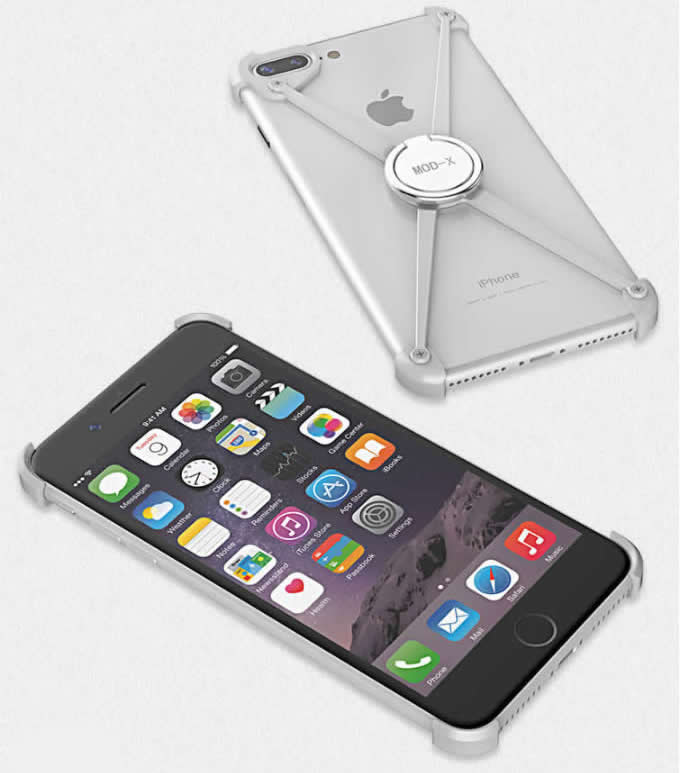 Aluminum Bumper Frame Case With Ring Grip Stand  for iPhone 8/8 Plus/7/7 Plus/6/6 Plus/6S/6S Plus