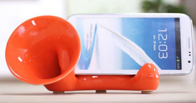 Ceramic Smartphone Speaker Amplifier Megaphone Horn Holder Stand