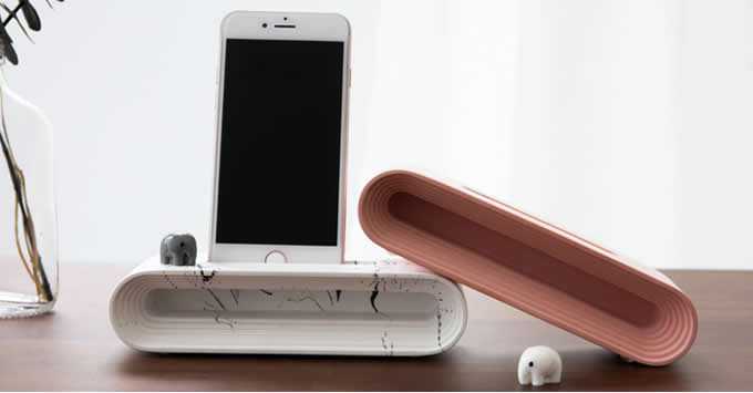 Concrete Cell Phone Charging Dock Sound Amplifier Stand