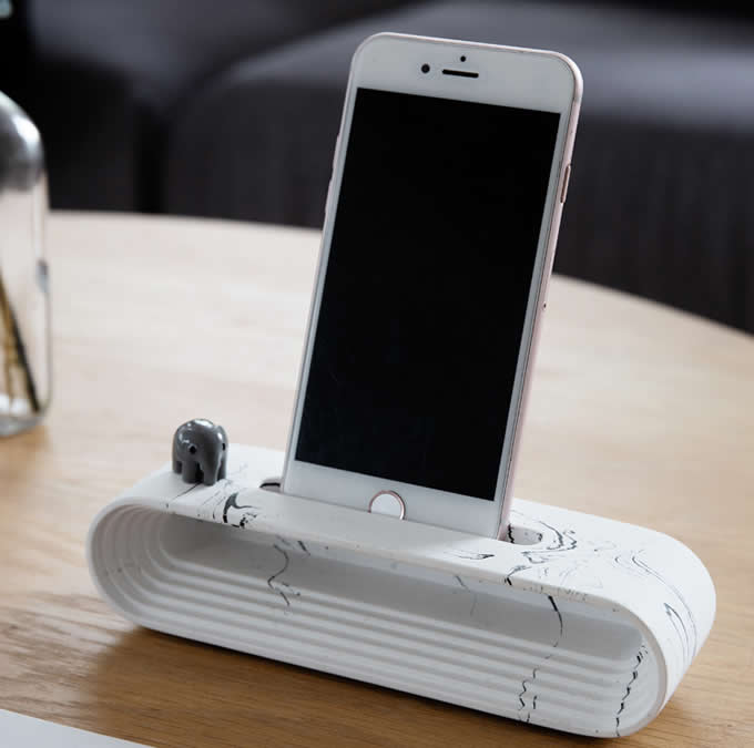 Concrete Cell Phone Charging Dock Sound Amplifier Stand Dock for iPhone 77 Plus6s6s Plus