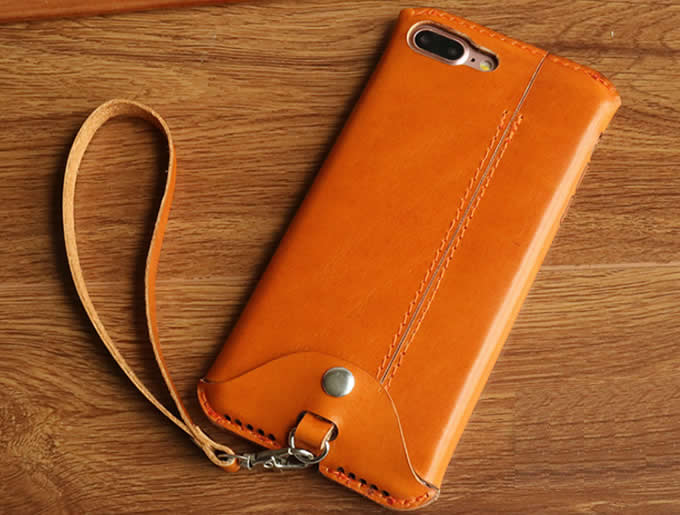 Handmade Genuine Leather Case Cover with Strap For Iphone 6 6S 6Plus 6S Plus 7 7Plus