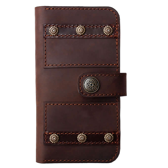 Handmade Genuine Leather Phone Wallet Case with Card Slots For iPhone xs max