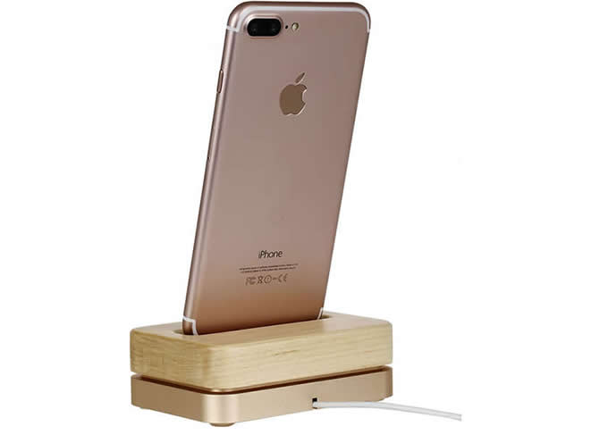 Wooden & Aluminum iPhone Desk Charger Stand Dock Station Holder for iPhone 7/7Plus/6S/ 6/6 Plus