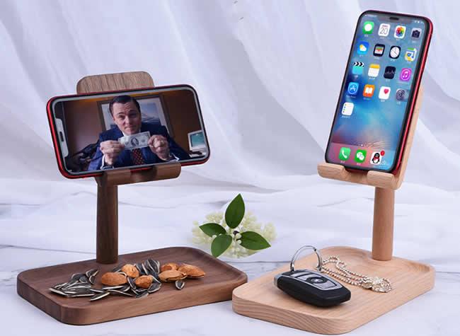 Adjustable Angle Black Walnut Wood Phone Holder Beech Storage Tray