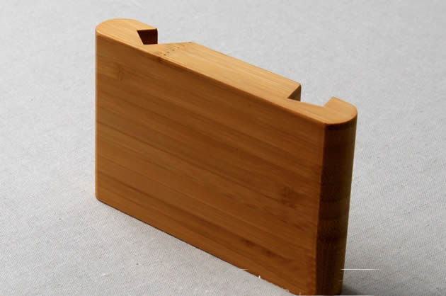 Breif double-head bamboo wood cell phone holder