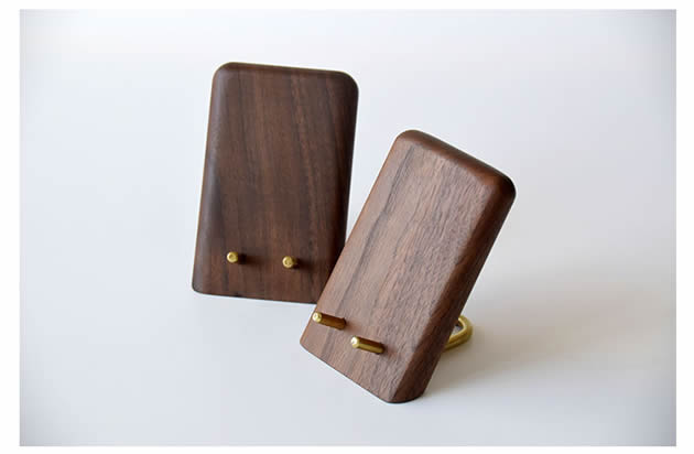 Classic black walnut combined with brass cell phone holder