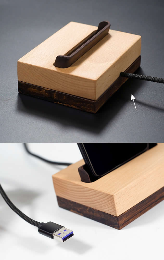 Fashion wooden mobile phone charging stand Black walnut beech phone holder
