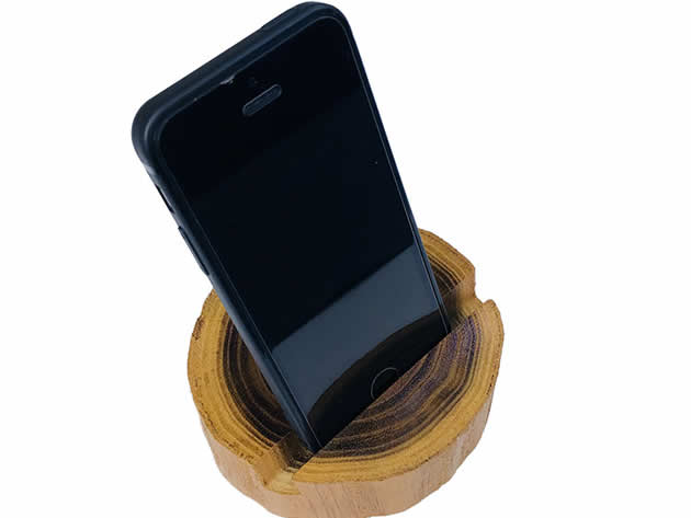Retro wooden pile shaped wooden mobile phone stand cellphone holder