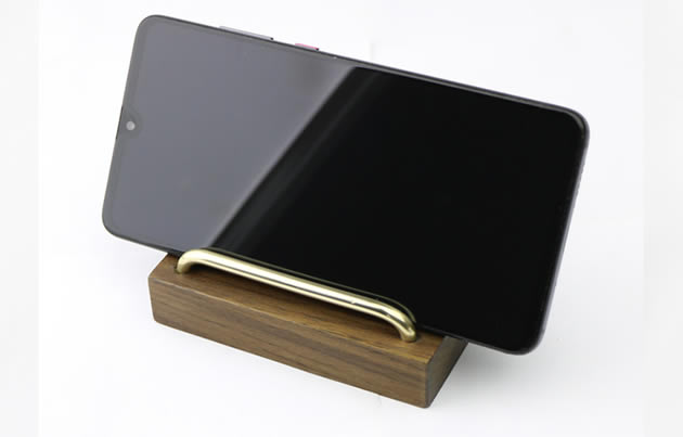 Simple black walnut wood brass cell phone stand phone holder