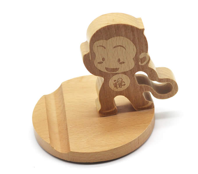 Wooden Cute Monkey Phone Holder