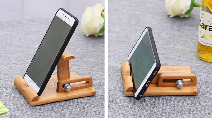 Bamboo Adjustable Cell Phone Smartphone Stand Holder