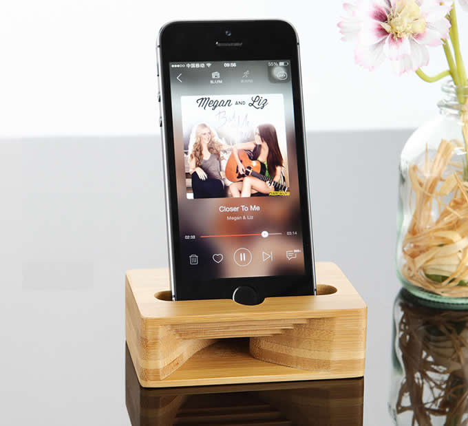 Bamboo Cell Phone Stand Dock with Sound Amplifier