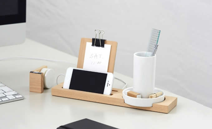 Bamboo Multifunction Smart Phone Charging Station And