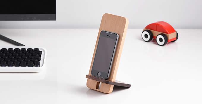 Bamboo Wooden Desktop Cell Phone Stand Holder Dock