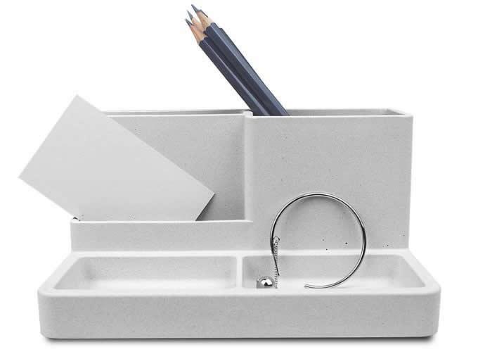Concrete Office Desk Organizer Pen and Pencil Holder Stationery Storage Box