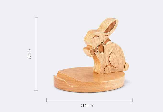 Cute Wooden Rabbit Cell Phone Tablet Stand Holder