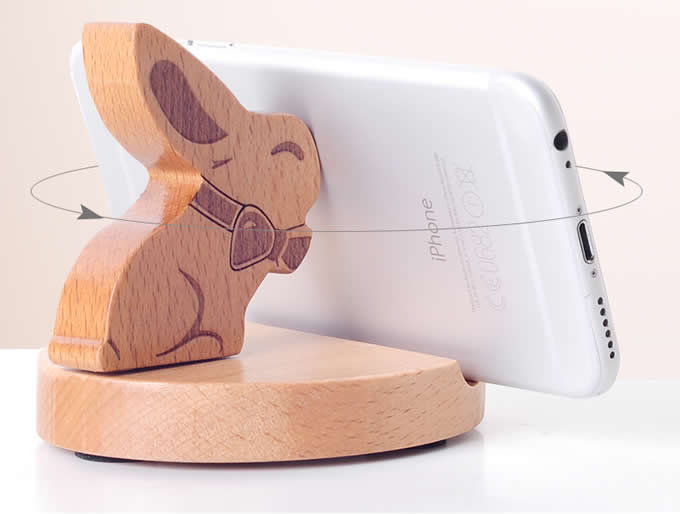 Cute Wooden Rabbit&Deer Cell Phone Tablet Stand Holder