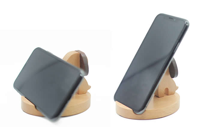 Dog Wooden Holder Stand for iPhone iPad and Other Cell Phone Tablet PC