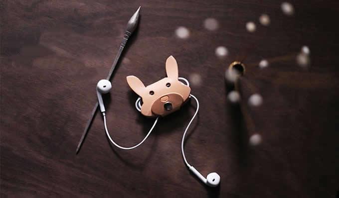 Handmade Leather Animal Face Headphone Earphone Wrap Winder Cord Organizer