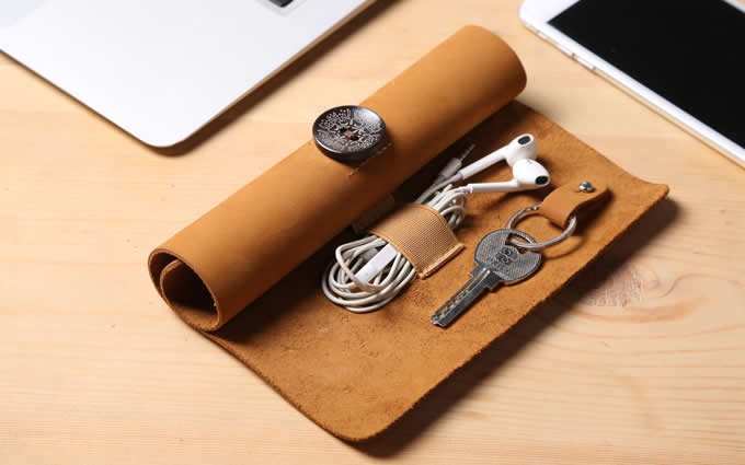 Leather Roll Up Style Cable Travel Organizer  For Cable Earphone Charger Pen Key