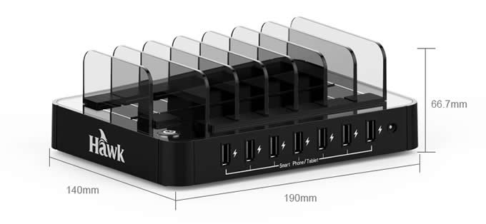 Multi Device 7-Port USB Charging Station Dock with Input 2.4 Amps Smart Rapid Charging Portsr For tablets,Smartphones