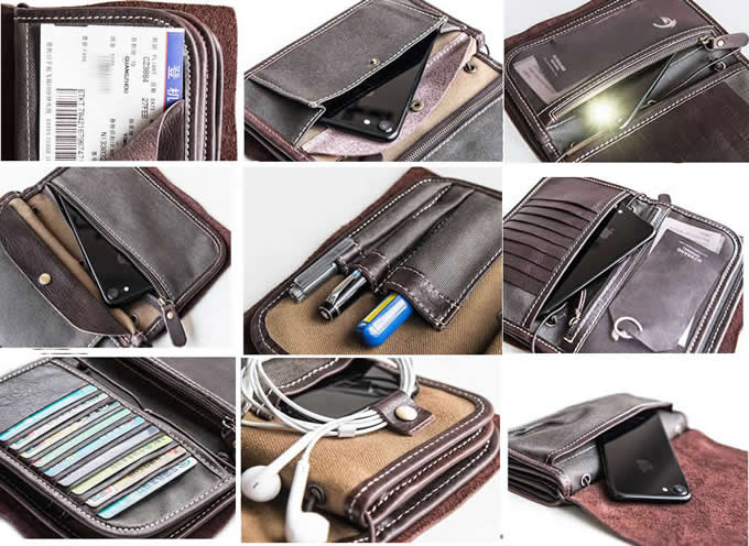 Multi Functional Genuine Leather Wallet Case with Credit Card Holder & Pen Holder & Cable  organization