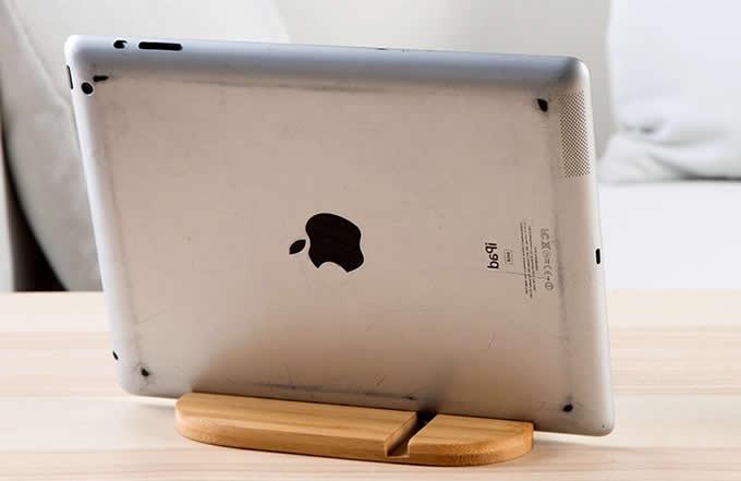 Natural Bamboo Wood SmartPhone iPad Stand Storage Holder