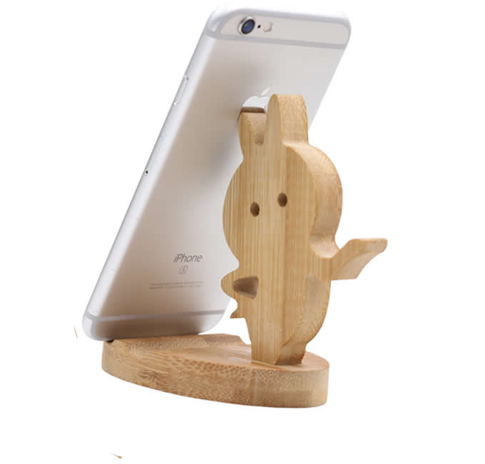 Natural Wooden Cute Cell Phone Holder Stand For iPhone Tablet iPad & other SmartPhone