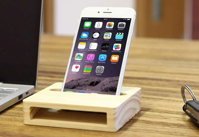 Natural Wooden Cell Phone Stand Holder Dock Sound Amplifier Stands
