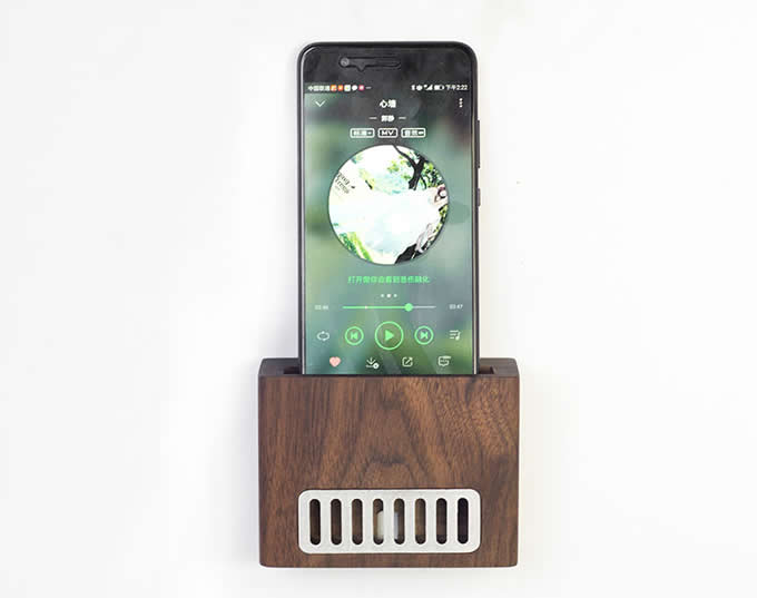 Self Adhesive Wall Wooden  Cell Phone Charging Dock, Sound Amplifier Wooden Amplification Stands