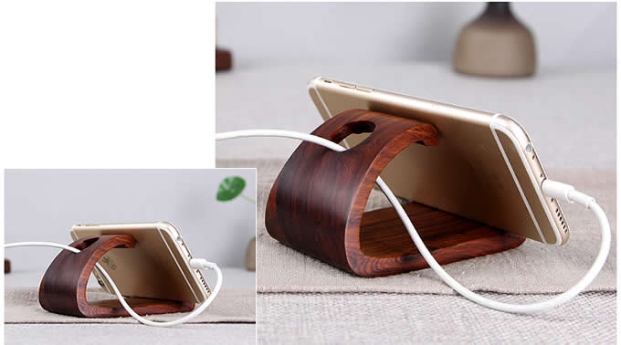 Wood Cell Phone Stand, Smartphone Wood Dock