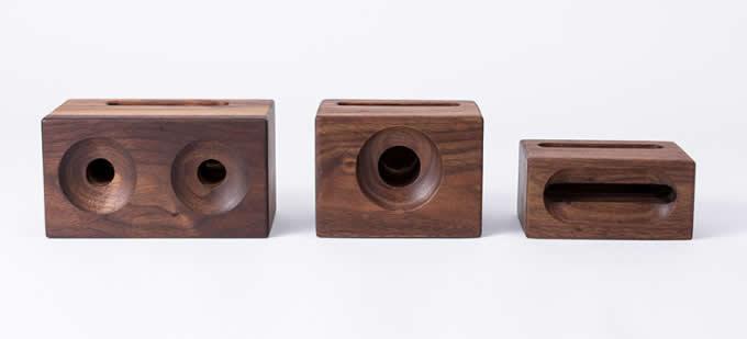 Black Walnut Wood Phone Sound Amplifier Trumpet Holder Amplifier Loudspeaker