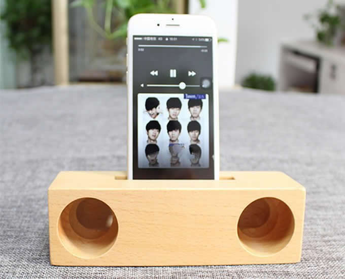 Wooden Amp Bamboo Speaker Sound Amplifier Stand Dock For