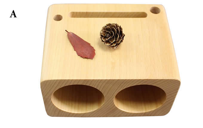 Wooden Cell Phone Sound Amplifier Dock Stand Holder  With Pen Stand