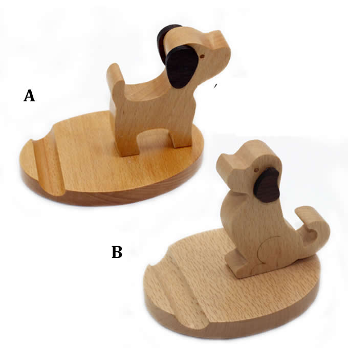 Wooden Dog Cell Phone iPad Stand Holder