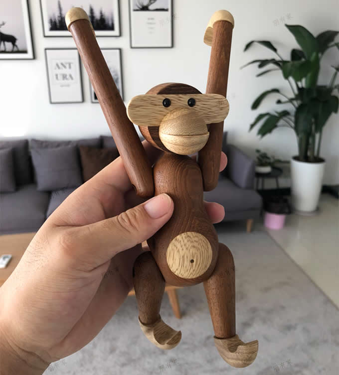 Wooden Hanging Monkey Doll Figurine  Home Decoration