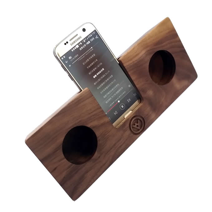 Wooden & Bamboo Speaker Sound Amplifier Stand Dock for SmartPhone