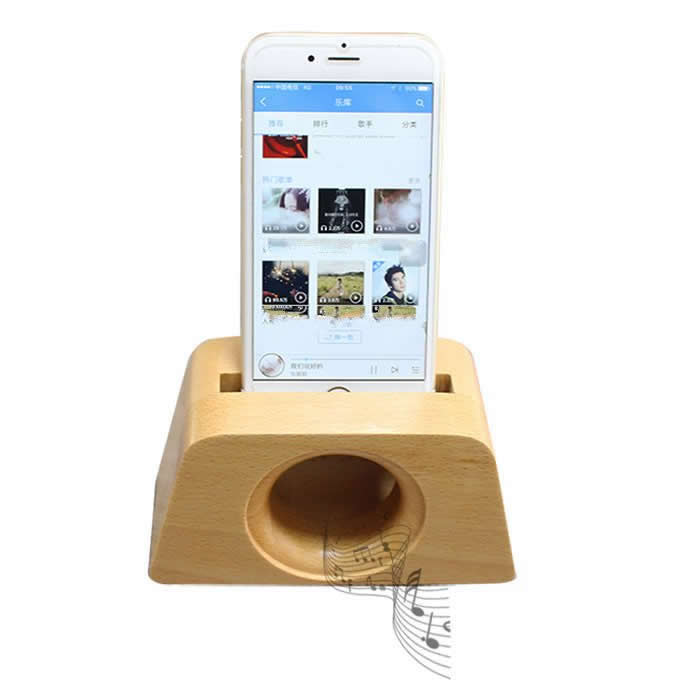 Wooden Horn Speaker Sound Amplifier Stand Dock for SmartPhone