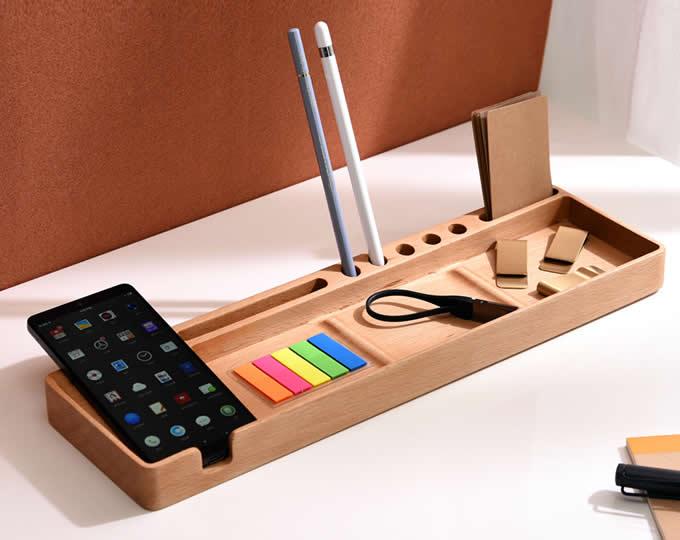 Stand Up Desk >> Wooden Multifunctional Desktop Card/Pen/Pencil/Mobile Phone Office Supplies Holder Display ...