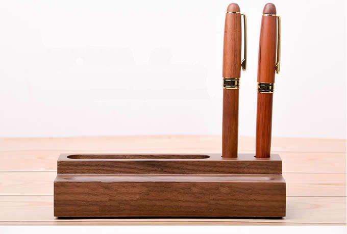 Wooden Office Desk Organizer Business Card Holder Pen Pencil Holder Stationery Storage Box