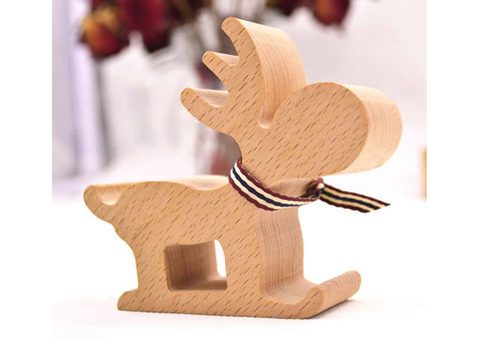 Wooden Pere David''s Deer Shaped Mobile Phone iPad Holder Stand
