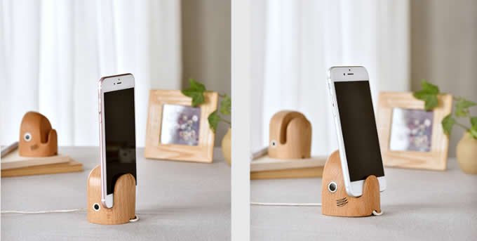 Wooden Whale/shark Head Cell Phone Stand Charging Dock Holder