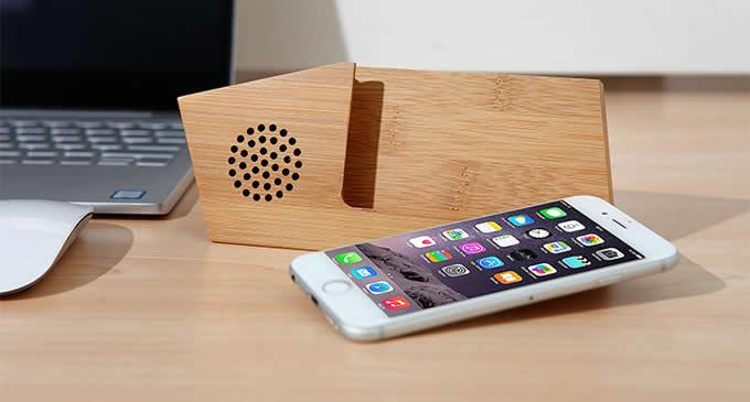 Bamboo Phone Sound Amplifier Trumpet Holder Amplifier Loudspeaker