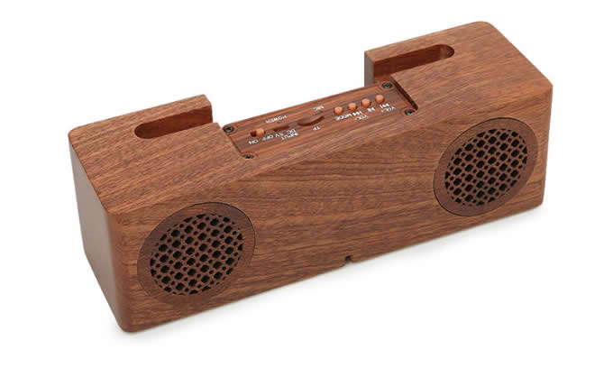 Bluetooth Wood Portable Speaker With Mobile Phone Stand Holder
