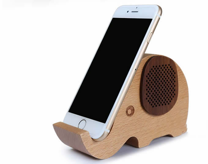 Cool Speaker wooden elephant shaped bluetooth speaker mobile phone display