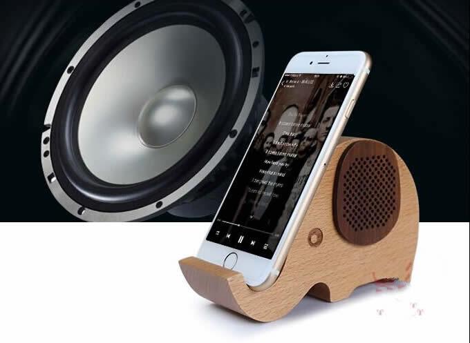 Wooden Elephant Shaped Bluetooth Speaker Mobile Phone