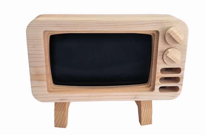 Wooden TV Shape Mobile Phone Cellphone Holder
